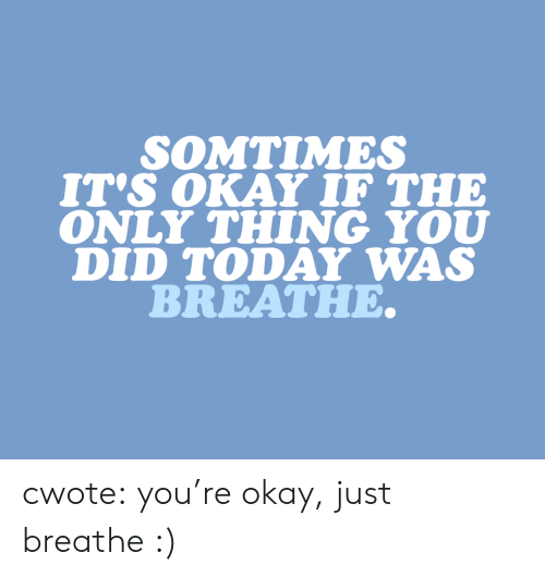just breathe: SOMTIMES  IT's OKAY IF THE  ONLY THING YOU  DID TODAY WAS  BREATHE. cwote: you're okay, just breathe :)
