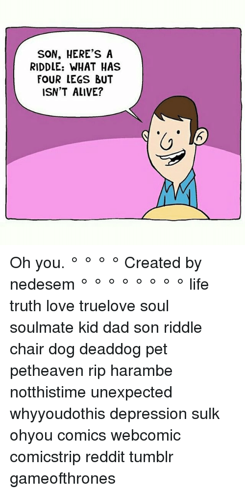 Dad Son: SON, HERE'S A  RIDDLE: WHAT HAS  FOUR LEGS BUT  ISN'T ALIVE? Oh you. ° ° ° ° Created by nedesem ° ° ° ° ° ° ° ° life truth love truelove soul soulmate kid dad son riddle chair dog deaddog pet petheaven rip harambe notthistime unexpected whyyoudothis depression sulk ohyou comics webcomic comicstrip reddit tumblr gameofthrones