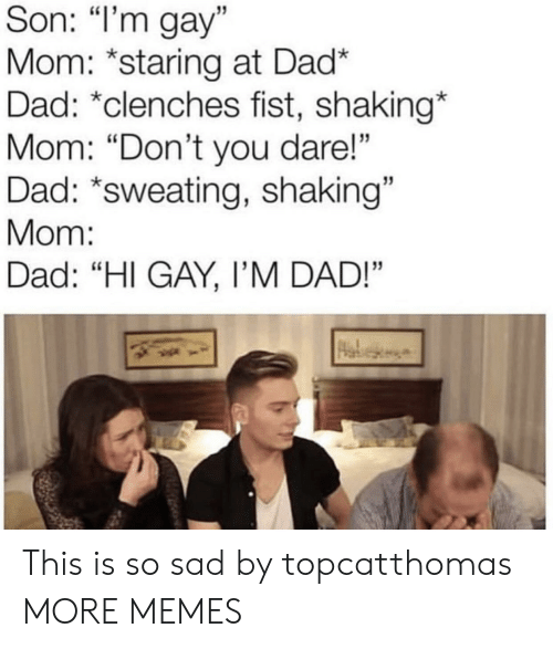 """Dad, Dank, and Memes: Son: """"I'm gay""""  Mom: *staring at Dad*  Dad: *clenches fist, shaking*  Mom: """"Don't you dare!""""  Dad: *sweating, shaking""""  Mom:  Dad: """"HI GAY, I'M DAD!"""" This is so sad by topcatthomas MORE MEMES"""