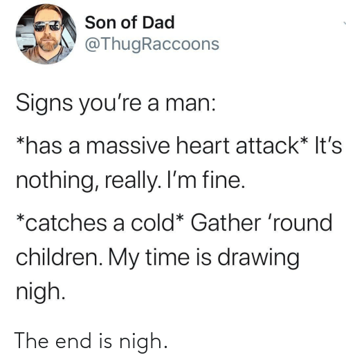 Children: Son of Dad  @ThugRaccoons  Signs you're a man:  *has a massive heart attack* It's  nothing, really. I'm fine.  *catches a cold* Gather 'round  children. My time is drawing  nigh. The end is nigh.