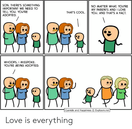 And I Love You: SON, THERE'S SOMETHING  IMPORTANT WE NEED TO  TELL YOU. YOU'RE  ADOPTED.  NO MATTER WHAT, YOU'RE  MY PARENTS AND I LOVE  YOu. AND THAT'S A FACT  THAT'S COOL.  WHOOPS, I MISSPOKE  YOU'RE BEING ADOPTED  Cyanide and Happiness  Explosm.net Love is everything