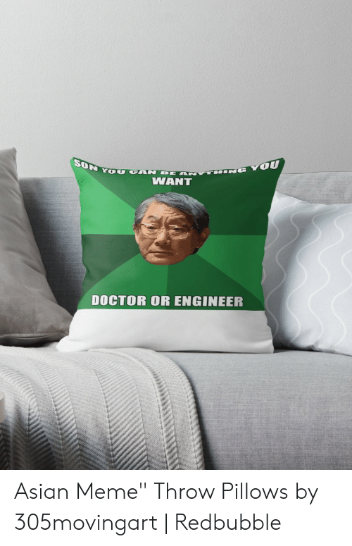 """asian meme: SON Y OU CAN BE  THINE YOU  WANT  DOCTOR OR ENGINEER Asian Meme"""" Throw Pillows by 305movingart   Redbubble"""
