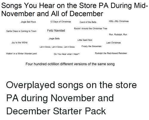 christmas jingle bells and run songs you hear on the store pa during