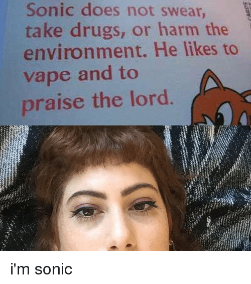 praise the lord: Sonic does not swear,  take drugs, or harm the  environment. He likes to  vape and to  praise the lord i'm sonic