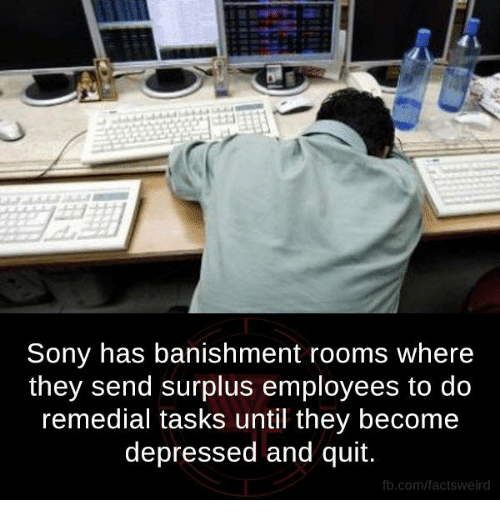 banishes: Sony has banishment rooms where  they send surplus employees to do  remedial tasks until they become  depressed and quit.  fb.com/facts Weird