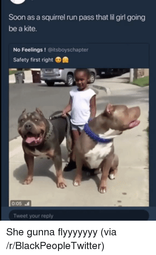 Lil Girl: Soon as a squirrel run pass that lil girl going  be a kite.  No Feelings! @itsboyschapter  Safety first right  0:05 ㆋ  Tweet your reply <p>She gunna flyyyyyyy (via /r/BlackPeopleTwitter)</p>