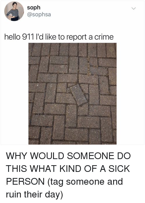 Crime, Hello, and Memes: soph  @sophsa  hello 911 l'd like to report a crime WHY WOULD SOMEONE DO THIS WHAT KIND OF A SICK PERSON (tag someone and ruin their day)