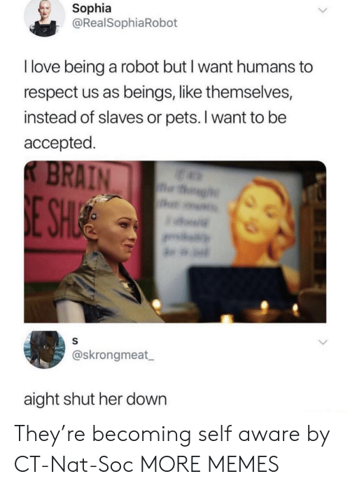 Dank, Love, and Memes: Sophia  @RealSophiaRobot  I love being a robot but I want humans to  respect us as beings, like themselves,  instead of slaves or pets. I want to be  accepted  @skrongmeat  aight shut her down They're becoming self aware by CT-Nat-Soc MORE MEMES