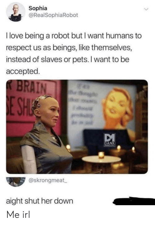 Love Being: Sophia  @RealSophiaRobot  I love being a robot but I want humans  respect us as beings, like themselves,  instead of slaves or pets. I want to be  accepted  K BRAIN  h  E SH  a.  DANK  MINESS  @skrongmeat  aight shut her down Me irl