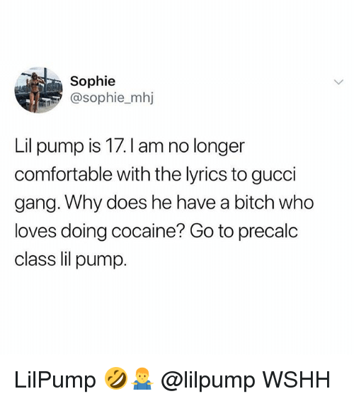Bitch, Comfortable, and Gucci: Sophie  @sophie_mhj  Lil pump is 17.I am no longer  comfortable with the lyrics to gucci  gang. Why does he have a bitch who  loves doing cocaine? Go to precalc  class lil pump LilPump 🤣🤷♂️ @lilpump WSHH