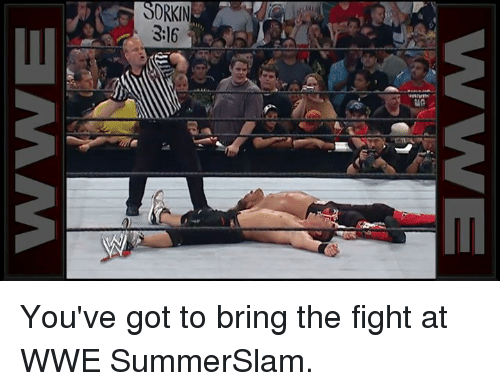 World Wrestling Entertainment, Fight, and Got: SORKIN  3:16 You've got to bring the fight at WWE SummerSlam.