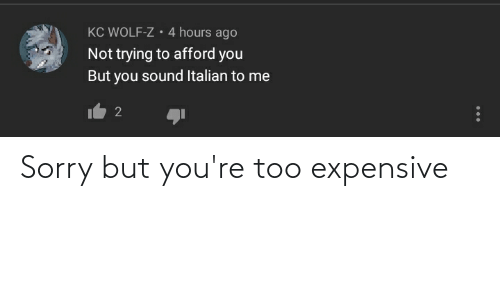 Too Expensive: Sorry but you're too expensive