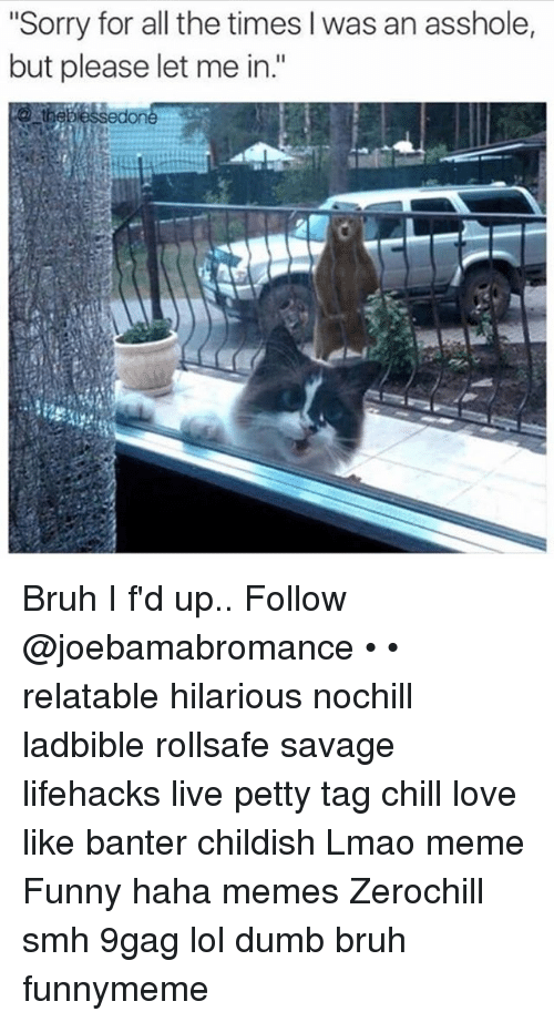 """lifehacks: """"Sorry for all the times l was an asshole,  but please let me in.""""  edone Bruh I f'd up.. Follow @joebamabromance • • relatable hilarious nochill ladbible rollsafe savage lifehacks live petty tag chill love like banter childish Lmao meme Funny haha memes Zerochill smh 9gag lol dumb bruh funnymeme"""