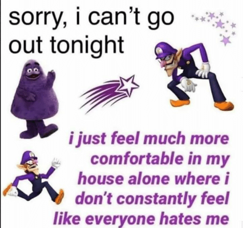 Being Alone, Comfortable, and My House: sorry, i can't go  out tonight  o.o  i just feel much more  comfortable in my  house alone where i  don't constantly feel  like everyone hates me