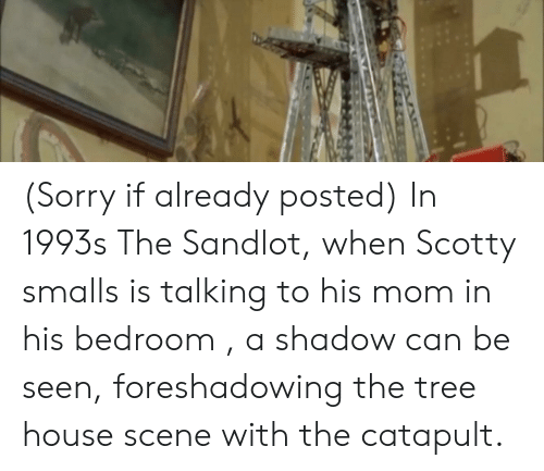 Sorry, House, and Tree: (Sorry if already posted) In 1993s The Sandlot, when Scotty smalls is talking to his mom in his bedroom , a shadow can be seen, foreshadowing the tree house scene with the catapult.