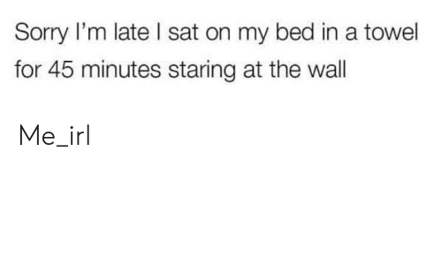 Staring At The Wall: Sorry I'm late I sat on my bed in a towel  for 45 minutes staring at the wall Me_irl