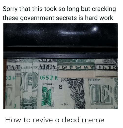 D C: Sorry that this took so long but cracking  these government secrets is hard work  ONE  CAT eIRLS INAREA  NDER  D PRI  0557 K  03 H  TRUST  GTSHIC  6  D.C  iordsrufus  FW B103  64 How to revive a dead meme