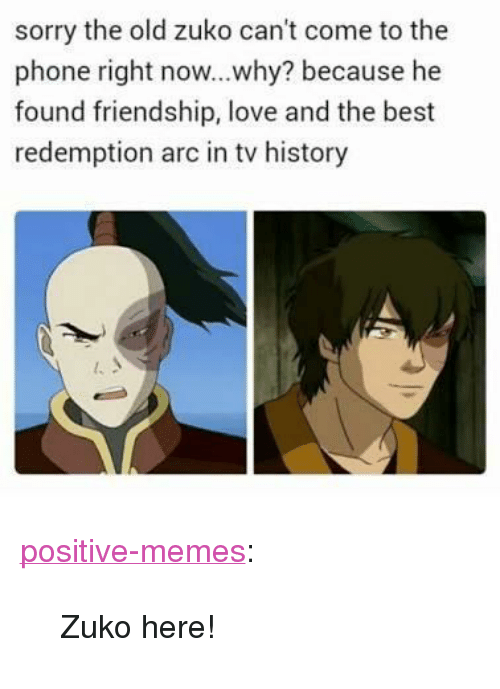 """Love, Memes, and Phone: sorry the old zuko can't come to the  phone right now...why? because he  found friendship, love and the best  redemption arc in tv history <p><a href=""""https://positive-memes.tumblr.com/post/166744068700/zuko-here"""" class=""""tumblr_blog"""">positive-memes</a>:</p> <blockquote><p>Zuko here!</p></blockquote>"""