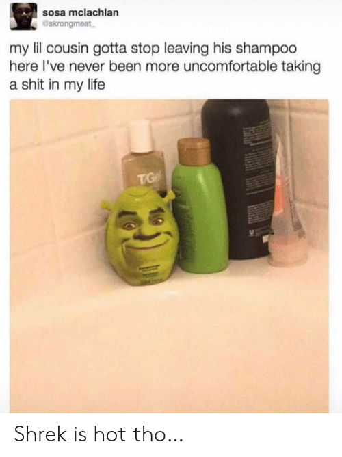 Life, Shit, and Shrek: sosa mclachlan  Gskrongmeat  my lil cousin gotta stop leaving his shampoo  here I've never been more uncomfortable taking  a shit in my life  TGe Shrek is hot tho…
