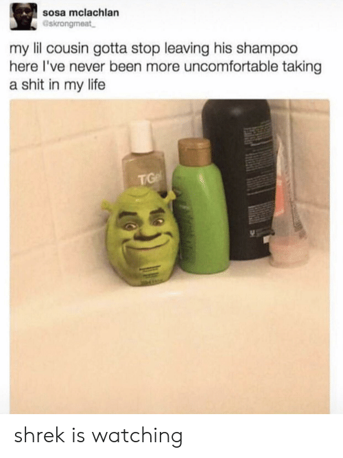 Life, Shit, and Shrek: sosa mclachlan  Gskrongmeat  my lil cousin gotta stop leaving his shampoo  here I've never been more uncomfortable taking  a shit in my life  TG shrek is watching