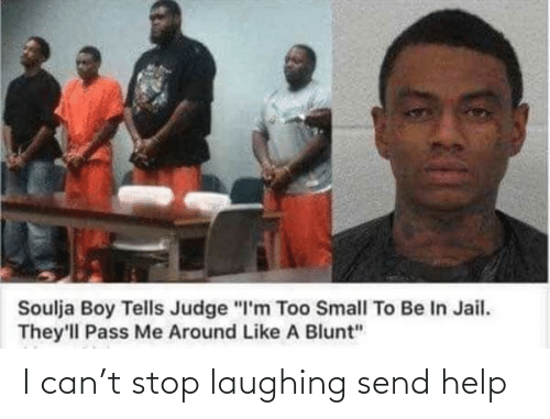 "In Jail: Soulja Boy Tells Judge ""I'm Too Small To Be In Jail.  They'll Pass Me Around Like A Blunt"" I can't stop laughing send help"
