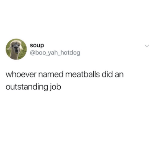 hotdog: soup  @boo yah hotdog  whoever named meatballs did an  outstanding job