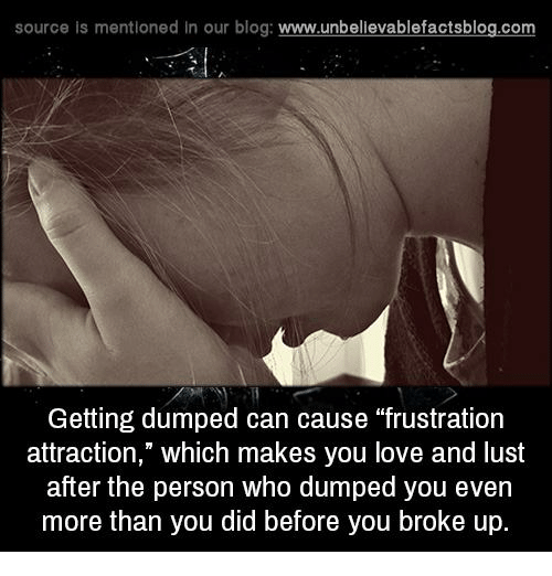 "getting dumped: source is mentioned in our blog  www.unbelievablefactsblog.com  Getting dumped can cause ""frustration  attraction,"" which makes you love and lust  after the person who dumped you even  more than you did before you broke up."