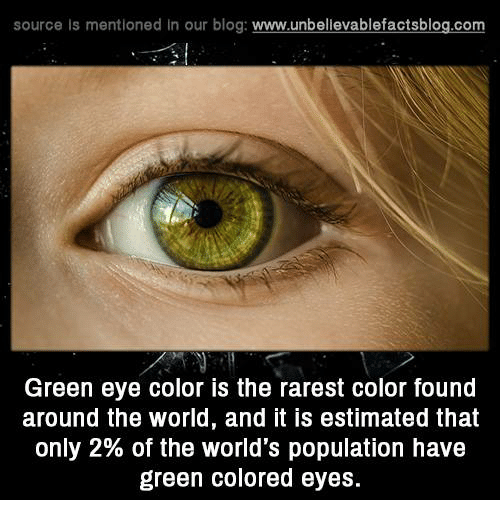 eye color: source Is mentioned In our blog  www.unbelievablefactsblog.com  Green eye color is the rarest color found  around the world, and it is estimated that  only 2% of the world's population have  green colored eyes.