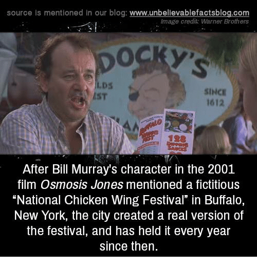 """creat a: source Is mentioned In our blog  www.unbelievablefactsblog.com  Image credit: Warner Brothers  SINCE  1612  After Bill Murray's character in the 2001  film Osmosis Jones mentioned a fictitious  """"National Chicken Wing Festival"""" in Buffalo,  New York, the city created a real version of  the festival, and has held it every year  since then."""