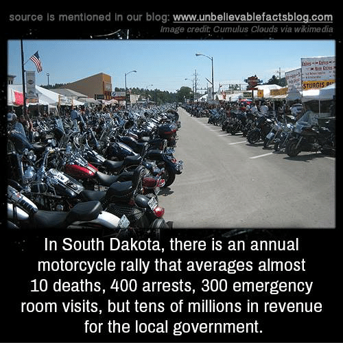 annuale: source Is mentioned in our blog: www.unbellevablefactsblog.co  Image credit Cumulus Clouds via wikime dia  In South Dakota, there is an annual  motorcycle rally that averages almost  10 deaths, 400 arrests, 300 emergency  room visits, but tens of millions in revenue  for the local government.
