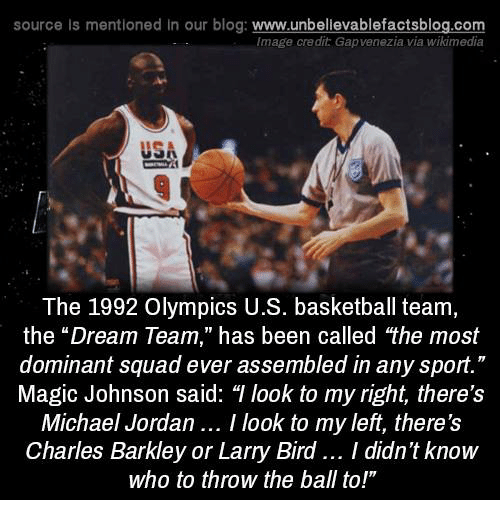 "Basketball, Magic Johnson, and Memes: source Is mentioned in our blog: www.unbellevablefactsblog.co  Image credit Gapvenezia via wikimedia  USA  The 1992 Olympics U.S. basketball team,  the ""Dream Team,"" has been called the most  dominant squad ever assembled in any sport.""  Magic Johnson said: T look to my right, there's  Michael Jordan.. I look to my left, there's  Charles Barkley or Larry Bird.. I didn't know  who to throw the ball to!"