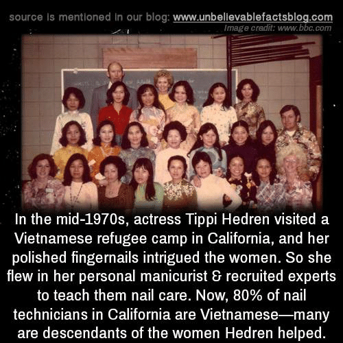 Vietnamese: source Is mentioned in our blog: www.unbellevablefactsblog.co  Image credit: www.bbc.com  a so  In the mid-1970s, actress Tippi Hedren visited a  Vietnamese refugee camp in California, and her  polished fingernails intrigued the women. So she  flew in her personal manicurist & recruited experts  to teach them nail care. Now, 80% of nail  technicians in California are Vietnamese-many  are descendants of the women Hedren helped.