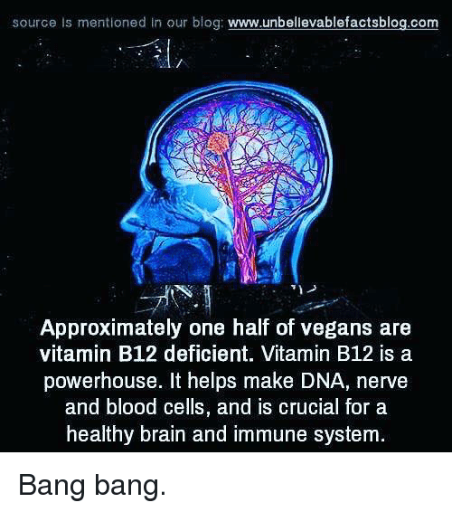b12: source is mentioned In our blog  www.unbellevablefactsblog.com  Approximately one half of vegans are  vitamin B12 deficient. Vitamin B12 is a  powerhouse. It helps make DNA, nerve  and blood cells, and is crucial for a  healthy brain and immune system Bang bang.