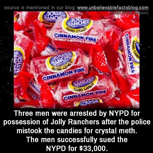 possession: source is mentioned in our blog: www.unbellevablefactsblog.com  edit Anazon  AN  JIO  RANCHER  CINNAMON GIRE  0  NNAMON FIRE  INNAMON FIRE  Three men were arrested by NYPD for  possession of Jolly Ranchers after the police  mistook the candies for crystal meth  The men successfully sued the  NYPD for $33,000