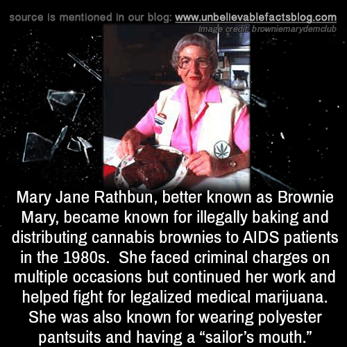 "Memes, Work, and Blog: source is mentioned in our blog: www.unbellevablefactsblog.com  lmage credit browniemarydemclub  Mary Jane Rathbun, better known as Brownie  Mary, became known for illegally baking and  distributing cannabis brownies to AIDS patients  in the 1980s. She faced criminal charges on  multiple occasions but continued her work and  helped fight for legalized medical marijuana.  She was also known for wearing polyester  pantsuits and having a ""sailor's mouth  ."""