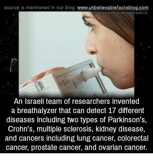Memes, Blog, and Business: source Is mentioned in our blog: www.unbellevablefactsblog.com  mage credit business insider.in  An Israeli team of researchers invented  a breathalyzer that can detect 17 different  diseases including two types of Parkinson's,  Crohn's, multiple sclerosis, kidney disease,  and cancers including lung cancer, colorectal  cancer, prostate cancer, and ovarian cancer.