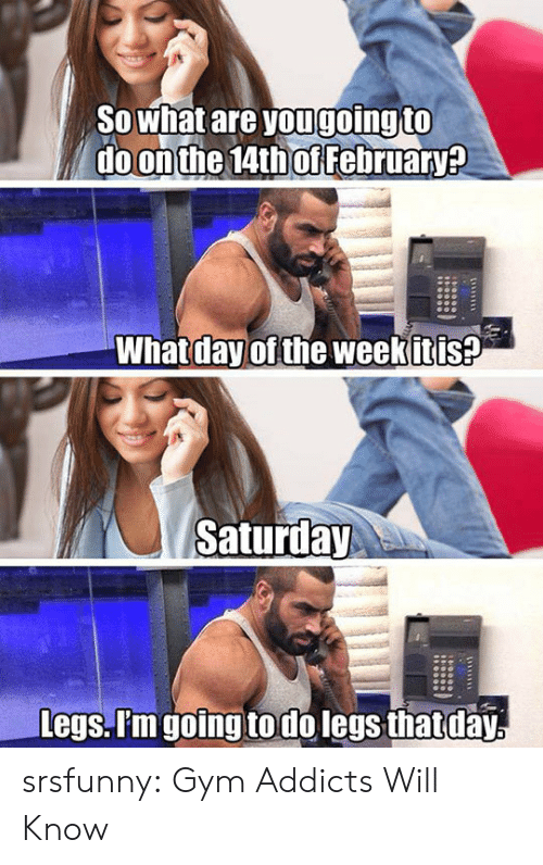 Gym, Tumblr, and Blog: SOwhat are yougoing to  do on the 14th of February?  What day of the weekitis?  Saturday  Legs. P'm going todo legs that day srsfunny:  Gym Addicts Will Know