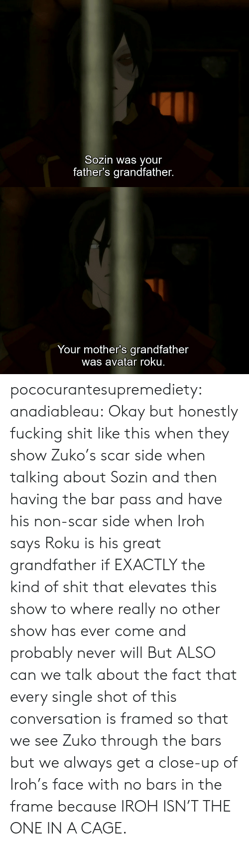 Bars: Sozin was your  father's grandfather.   Your mother's grandfather  was avatar roku. pococurantesupremediety: anadiableau: Okay but honestly fucking shit like this when they show Zuko's scar side when talking about Sozin and then having the bar pass and have his non-scar side when Iroh says Roku is his great grandfather if EXACTLY the kind of shit that elevates this show to where really no other show has ever come and probably never will But ALSO can we talk about the fact that every single shot of this conversation is framed so that we see Zuko through the bars but we always get a close-up of Iroh's face with no bars in the frame because IROH ISN'T THE ONE IN A CAGE.