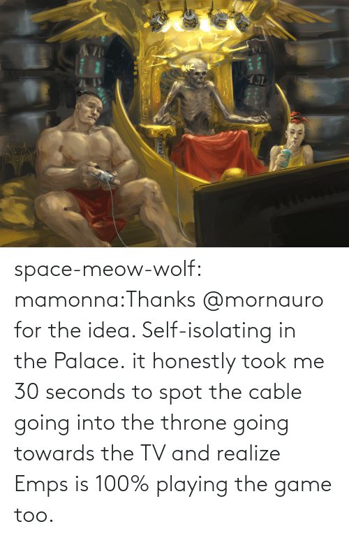 /tv/ : space-meow-wolf:  mamonna:Thanks @mornauro for the idea. Self-isolating in the Palace. it honestly took me 30 seconds to spot the cable going into the throne going towards the TV and realize Emps is 100% playing the game too.