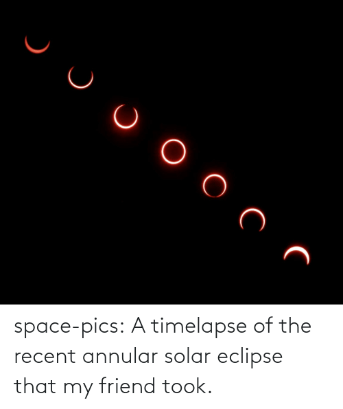 pics: space-pics:  A timelapse of the recent annular solar eclipse that my friend took.
