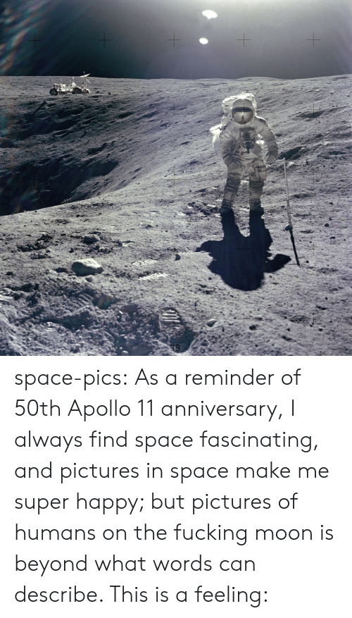 fascinating: space-pics:  As a reminder of 50th Apollo 11 anniversary, I always find space fascinating, and pictures in space make me super happy; but pictures of humans on the fucking moon is beyond what words can describe. This is a feeling: