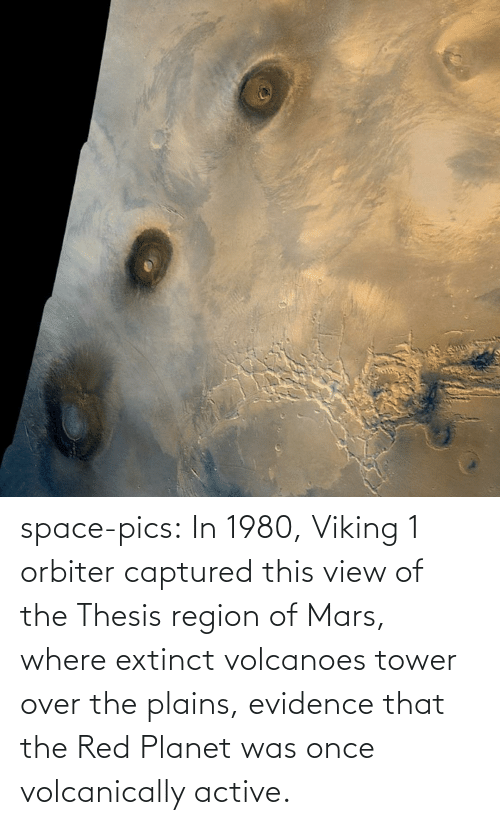 over: space-pics:  In 1980, Viking 1 orbiter captured this view of the Thesis region of Mars, where extinct volcanoes tower over the plains, evidence that the Red Planet was once volcanically active.