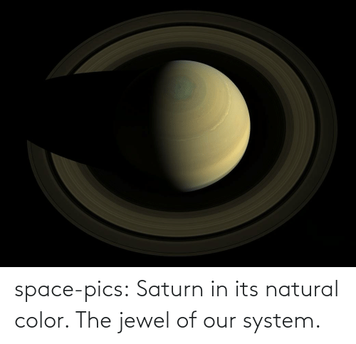 system: space-pics:  Saturn in its natural color. The jewel of our system.