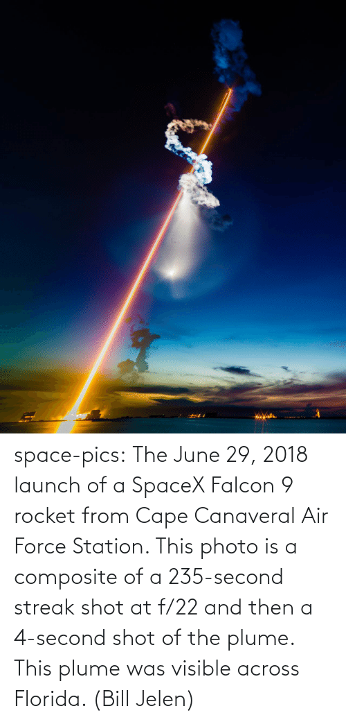station: space-pics:  The June 29, 2018 launch of a SpaceX Falcon 9 rocket from Cape Canaveral Air Force Station. This photo is a composite of a 235-second streak shot at f/22 and then a 4-second shot of the plume. This plume was visible across Florida. (Bill Jelen)