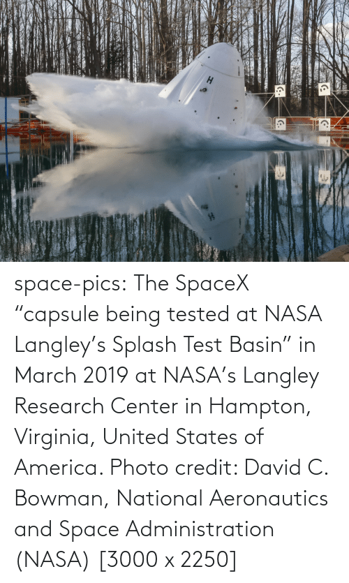 "Research: space-pics:  The SpaceX ""capsule being tested at NASA Langley's Splash Test Basin"" in March 2019 at NASA's Langley Research Center in Hampton, Virginia, United States of America. Photo credit: David C. Bowman, National Aeronautics and Space Administration (NASA) [3000 x 2250]"