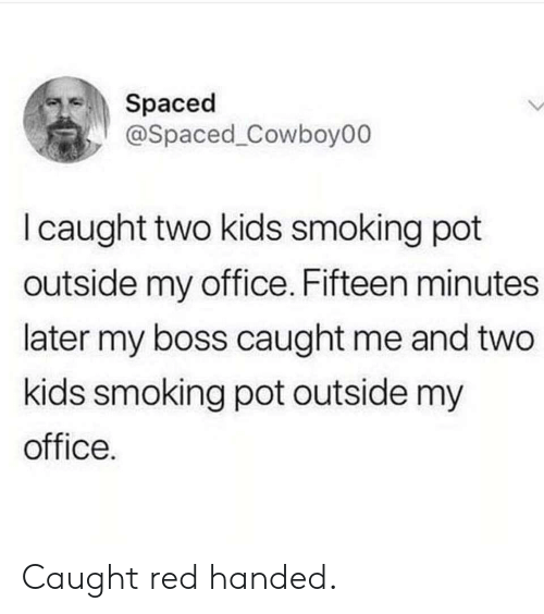 Two Kids: Spaced  @Spaced_Cowboy00  I caught two kids smoking pot  outside my office. Fifteen minutes  later my boss caught me and two  kids smoking pot outside my  office. Caught red handed.