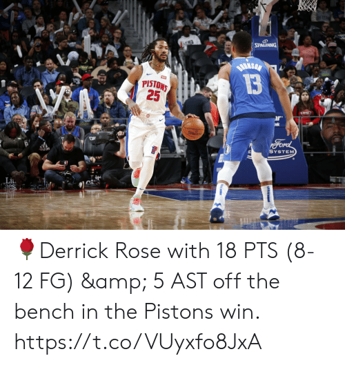 bench: SPALDING  BuksaN  13  PISTONS  25  r  nk  SPALDING  Ford  SYSTEM  adas 🌹Derrick Rose with 18 PTS (8-12 FG) & 5 AST off the bench in the Pistons win.   https://t.co/VUyxfo8JxA
