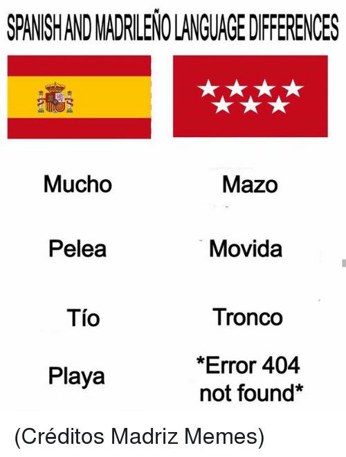 playa: SPANSHAND MADRILENO LANGUAGE DIFFERENCES  Mucho  Mazo  Pelea  Movida  Tio  Tronco  *Error 404  not found*  Playa (Créditos Madriz Memes)