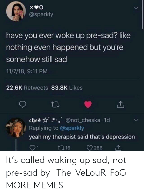 have you ever: @sparkly  have you ever woke up pre-sad? like  nothing even happened but you're  somehow still sad  11/7/18, 9:11 PM  22.6K Retweets 83.8K Likes  ches @not cheska 1o  Replying to @sparkly  yeah my therapist said that's depression  91  t16  286 It's called waking up sad, not pre-sad by _The_VeLouR_FoG_ MORE MEMES
