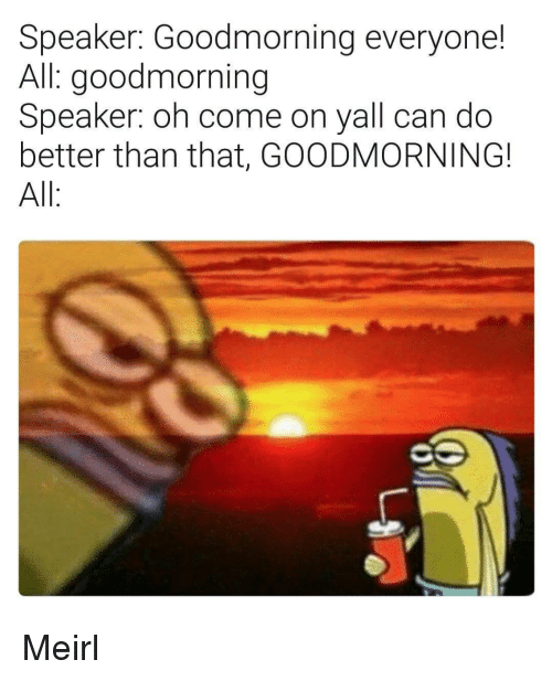 MeIRL, Can, and Speaker: Speaker: Goodmorning everyone!  All: goodmorning  Speaker: oh come on yall can do  better than that, GOODMORNING!  All Meirl